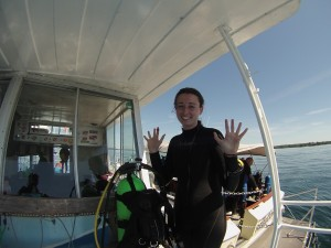 Ashley after a successful dive to 100'
