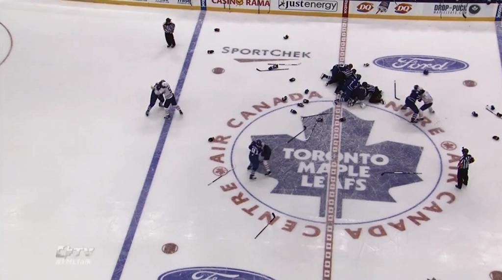 Line brawl in Toronto Maple Leafs / Buffalo Sabres preseason game on September 22, 2013. CREDIT: LeafsTV/NHL
