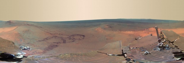 Panoramic composite image of Mars taken by the MER-Opportunity