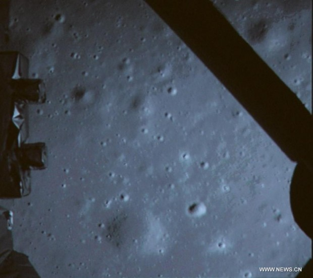 Looking down towards the lunar surface from Chang'e-3 during descent