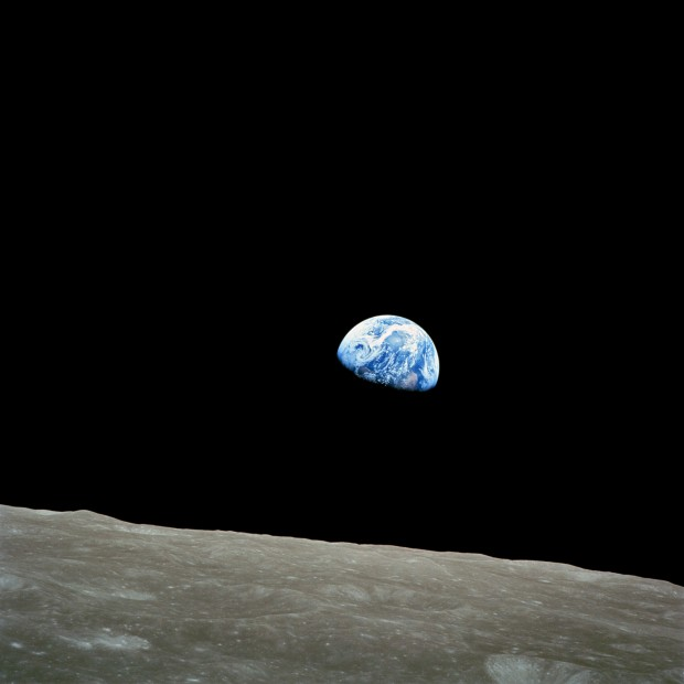 """Earthrise"" taken by Apollo 8 astronauts on December 24, 1968 while orbiting the Moon"