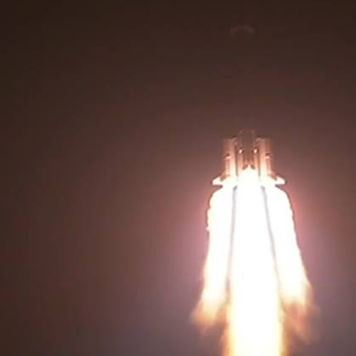 China's Long March 3B rocket launches from the Xichang Satellite Launch Center in the Sichuan province at 1:30am Beijing time on December 2, 2013. Atop this rocket sits the robotic Chang'e 3 Moon lander and Yutu rover.