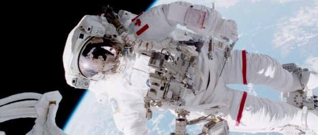 Chris Hadfield, the first Canadian to go on a spacewalk, on STS-100 in April 2001