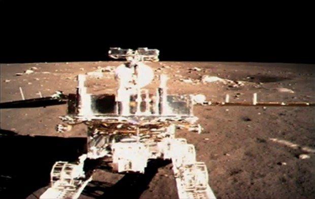 Yutu exiting the ramp and onto the surface of the Moon