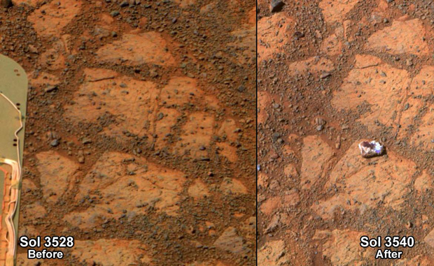 This before-and-after pair of images of the same patch of ground in front of NASA's Mars Exploration Rover Opportunity 13 days apart documents the arrival of a bright rock onto the scene. (NASA/JPL)