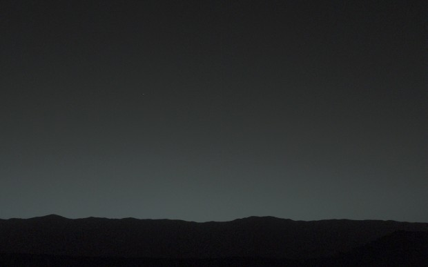 Earth & Moon - the bright objects in the sky - as seen from Mars by the Curiosity Rover on January 31, 2014