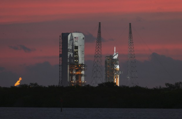 Orion sits atop a Delta IV Heavy on the launch pad in December 2004