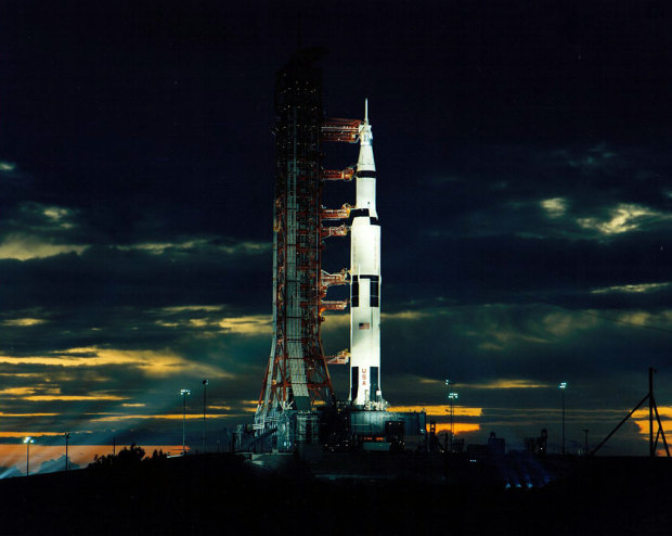 Apollo 17 sits atop a Saturn V on the launch pad in December 1972