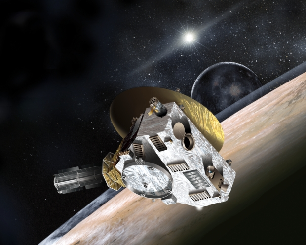 Artist's concept of the New Horizons spacecraft during its planned encounter with Pluto and its moon, Charon. The craft's miniature cameras, radio science experiment, ultraviolet and infrared spectrometers and space plasma experiments will characterize the global geology and geomorphology of Pluto and Charon, map their surface compositions and temperatures, and examine Pluto's atmosphere in detail. The spacecraft's most prominent design feature is a nearly 2.1-meter dish antenna, through which it communicates with Earth from as far as 7.5 billion km away. Image Credit: Johns Hopkins University Applied Physics Laboratory/Southwest Research Institute