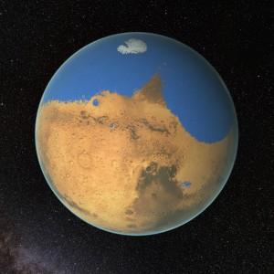 Mars with a vast Northern Ocean (NASA/Goddard Space Flight Center)
