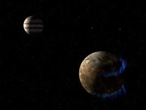 An illustration of Ganymede's auroras (NASA/ESA)