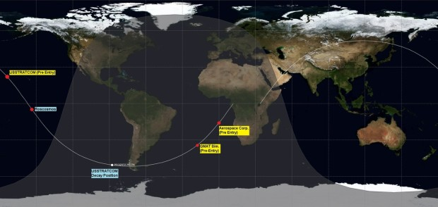 Map showing the location of Progress' decay position, according to USSTRATCOM, as well as the Russian Federal Space Agency (note Roscosmos appears to have misjudged re-entry by about 15 minutes early). Image Credit: Spaceflight101