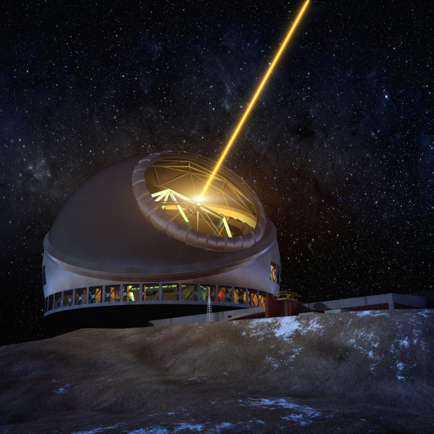 An illustration of the Thirty Meter Telescope's laser guide system (Source: TMT).