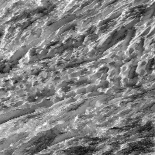 During its closest ever dive past the active south polar region of Saturn's moon Enceladus, NASA's Cassini spacecraft quickly shuttered its imaging cameras to capture glimpses of the fast moving terrain below. This view has been processed to remove slight smearing present in the original, unprocessed image that was caused by the spacecraft's fast motion. CREDIT: NASA/JPL-Caltech/Space Science Institute